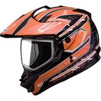 Black/Orange/White GM11S Nova Snow Sport Snowmobile Helmet with Dual Lens Shield - 72-7118L