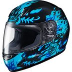 Youth Black/Blue CL-Y Flame Face MC-2 Helmet - 55-1926