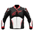 Black/White/Red Atem Leather Jacket - 3106513-123-48