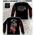 Reaper and Flag Long Sleeve T-Shirt - 28-435-108BK-XXL