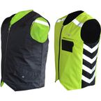 Black/Hi-Viz Green Military Duty Reversible Safety Vest - MDVG4