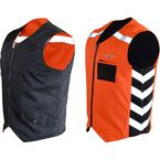 Black/Hi-Viz Orange Military Duty Reversible Safety Vest - MDVO4