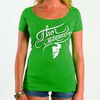 Womens Curly-Q Scoop Neck Green Tee - 3031-2015