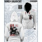 Juniors White Jax Flag Zip Hoody - 28-466-368WH-L