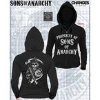 Juniors Black Property of SOA Zip Hoody - 28-466-369BK-S