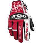 Red/White Leather and Mesh Top Dead Center Gloves - 87-6937