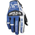 Blue/White Leather and Mesh Top Dead Center Gloves - 87-6942