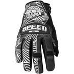 Womens Black/White Leather and Mesh Throttle Gloves - 87-6952