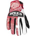 Womens Red/White Leather and Mesh Throttle Gloves - 87-6956