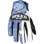 Womens Blue/White Leather and Mesh Throttle Gloves - 87-6959
