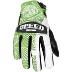 Womens Green/White Leather and Mesh Throttle Gloves - 87-6964