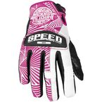 Womens Pink/White Leather and Mesh Throttle Gloves - 87-6968
