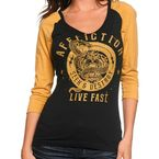 Womens Black/Affliction Yellow Raglan 3/4 Sleeve Shirt - AW9939-BKAY-M