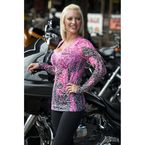 Womens Pink Inferno Burnout Long Sleeve T-Shirt - 3196M