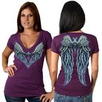 Womens Plum Angel Heart V-Neck T-Shirt - GLD1300L