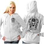 Womens White Sugar Skull Zip Hoody - GLZ4237S