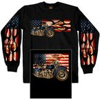 Black Reverse Flag and Flames Long Sleeve T-Shirt - GMD2211L
