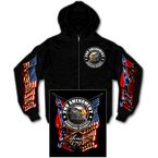 Black 2nd Amendment Down Flags Eagle Zip Hoody - GMZ4260L