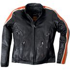 Womens Black/Orange/Cream Scooter Leather Jacket - JKL1012M