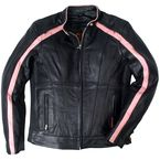 Womens Black/Pink Striped Leather Jacket - JKL1022L