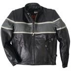 Black/Gray Striped Racing Leather Jacket - JKM1003-44