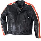 Black/Orange/Cream Scooter Leather Jacket - JKM1007-50