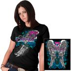 Womens Black Angel Roses T-Shirt - SPL1279-L