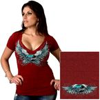 Womens Hether Red Sparkle Wings V-Neck T-Shirt - SPL1309-L