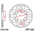 45 Tooth Rear Steel Sprocket For 525 Chain - JTR1332.45