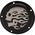 Matte Black Flaming Skull Transmission Derby Cover - 1107-0634