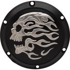 Matte Black Flaming Skull Transmission Derby Cover - D33-0113FSKBC