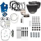 124 in. Wrinkle Black Power Package Big Bore Kit for Chain Drive w/Highlighted Fins and Pushrod Tube - 310-1056A