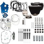 124 in. Wrinkle Black Power Package Big Bore Kit for Chain Drive w/Non Highlighted Fins and Pushrod Tube - 310-1057A