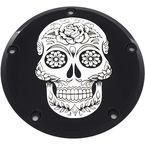 Black Sugar Skull Low Profile Derby Cover - SSKUL-67BG
