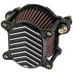 Black/Silver V-Fin Omega Air Cleaner - 02-169-2