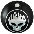 Black/Chrome Flame Skull Fuel Tank Console Door - 38-0602