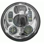 Silver 5.6 in. 9-LED Round Headlight w/ Partial Halo - BC-562S