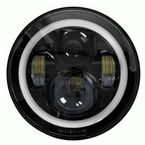 Black 7 in. LED Round Headlight w/Full Halo - BC-702B