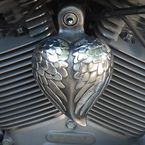 Aged Aluminum Angel Wing Heart Horn Cover - HRT-AW