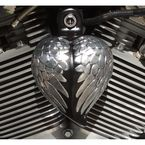 Black/Polished Wings Angel Wing Heart Horn Cover - HRT-GB