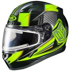 Black/Hi-Viz Green/Gray CL-17SN MC-3H Striker Helmet w/Frameless Dual Lens Shield - 1151-1513-08