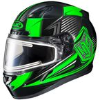 Black/Green/Gray CL-17SN MC-4 Striker Helmet w/Frameless Dual Lens Shield - 1151-1504-08