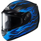 Black/Blue CS-R2SN MC-2 Flame Block Helmet With Dual Lens Shield - 1112-2002-06