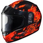 Youth Red/Black CL-YSN Flame Helmet With Framed Dual Lens Shield - 55-11914