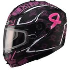 Limited Edition Matte Black GM54S Pink Ribbon Modular Snowmobile Helmet - 72-6148L