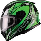 Green/White/Black FF49 Sektor Snowmobile Helmet - 72-6304L