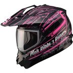 Matte Black/White/Pink GM11S Pink Ribbon Snow Sport Snowmobile Helmet - 72-7139L