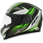 Black/Green FX-90 Rush Gloss Helmet - 0101-8495