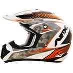 Pearl White/Safety Orange FX-17 Factor Helmet - 0110-4525