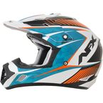 Pearl White/Light Blue/Safety Orange FX-17 Youth Complex Factor Helmet - 0111-1022